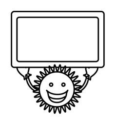 figure sticker happy sun with blue board in the vector image