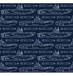 seamless pattern with submarines and torpedoes vector image vector image