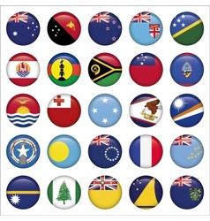 Set of Australian Oceania Round Flag Icons vector image