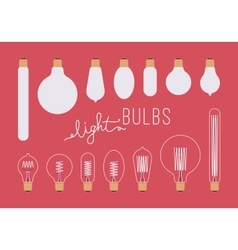 Set of retro light bulbs aganst crimson background vector