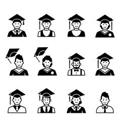 University students graduation avatar vector image vector image