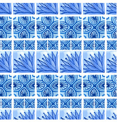 watercolor blue floral seamless pattern vector image