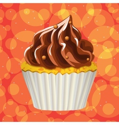 Cake with cream on a colorful background vector image vector image