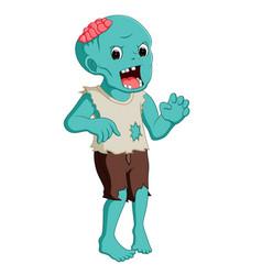 cartoon zombie isolated on white background vector image