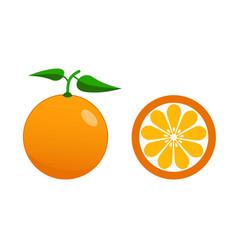 fresh orange and half of orange with leaves flat vector image