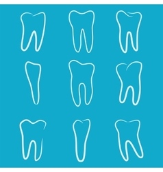 Human teeth icons set isolated on blue background vector image