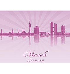 Munich skyline in purple radiant orchid vector image
