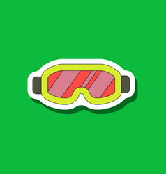 paper sticker on stylish background ski goggles vector image vector image