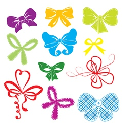 Set of different colors bows vector image vector image