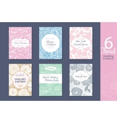 Six floral wedding save the date invitations set vector image