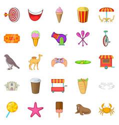 amusement park icons set cartoon style vector image vector image