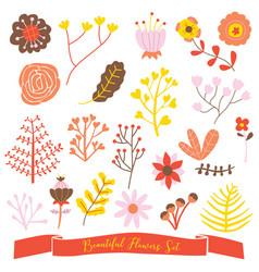 beautiful flowers set cute doodle vector image vector image