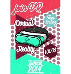 Color vintage Virtual Reality poster vector image vector image
