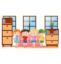 four happy children in the room vector image