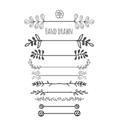 hand drawn floral elements collection hand drawn vector image vector image