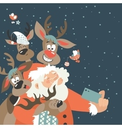 Santa and reindeers take a selfie vector image