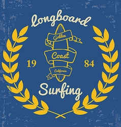 Surfing - Print for t-shirt in custom colors vector image