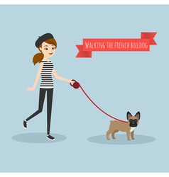 young girl walking with her french bulldog vector image