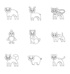 zoo toys hunting and other web icon in outline vector image vector image