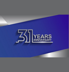 31 years anniversary silver color line style vector
