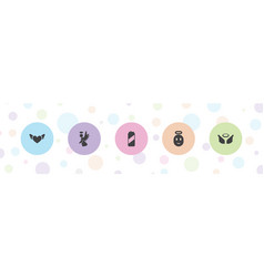 5 angel icons vector