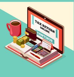 accounting and taxes isometric background vector image
