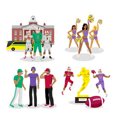 american high school football cartoon vector image
