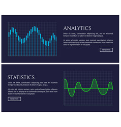analytics and statistics data shown in graphics vector image