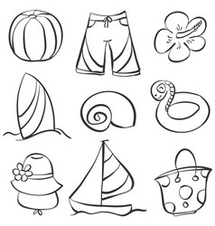 Art element summer doodles vector