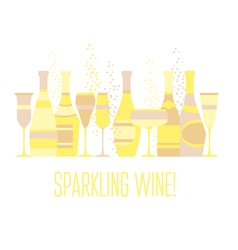 Assorted sparkling wine glasses and bottles vector