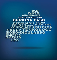 Burkina Faso map made with name of cities vector