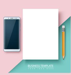 business template paper smartphone pen vector image