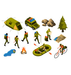 camping isometric set vector image