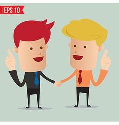 Cartoon Businessman making a wish cross finger vector