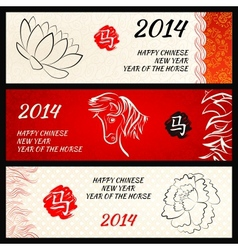 Chinese New Year of the Horse banners set vector image
