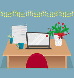 christmas office workplace with fir-tree branches vector image