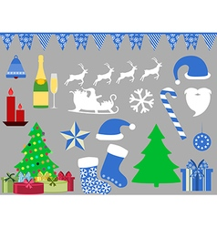 Christmas symbols in a flat style icons vector image