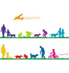 Colored silhouettes of people and animals vector