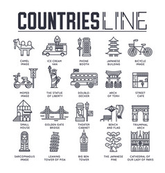 country travel collextion set of architecture vector image