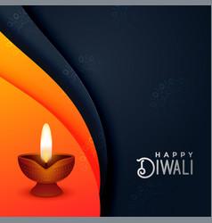 Creative diwali diya in orange and black colors vector