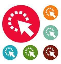 cursor pixel icons circle set vector image