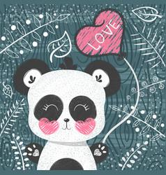 cute panda pattern - little princess vector image