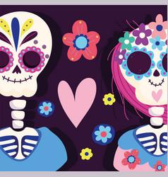 day dead couple skeleton heart flowers vector image