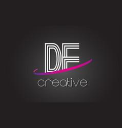 de d e letter logo with lines design and purple vector image