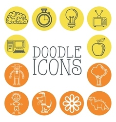 Doodle icon design cartoon icon draw concept vector image