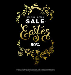 Easter sale flyer with wreath golden leaves and vector