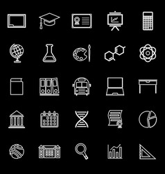 education line icons on black background vector image