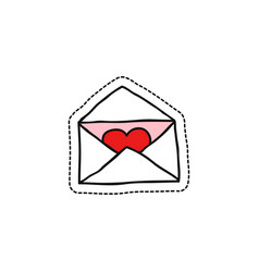 envelope with heart doodle icon vector image