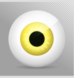 eye yellow realistic 3d eyeball irispupil icon vector image