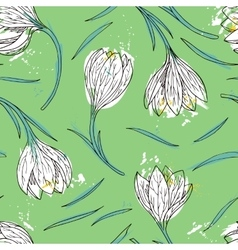 Floral seamless pattern with snowdrops vector